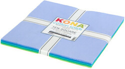 """Kona Solid 10"""" Square Pack in Mermaid Shores"""