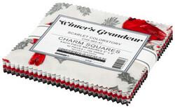 Winter's Grandeur 2 Charm Squares in Scarlet Colorstory