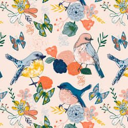 Bird Garden in Pearl Pink