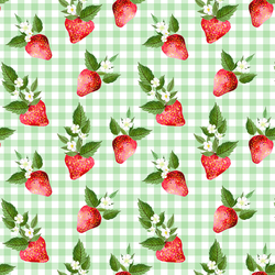 Strawberries in Leafy Green Gingham