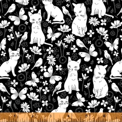 Cats in the Garden in Black