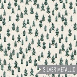 Fir Trees in Silver Metallic
