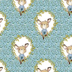 Large Dainty Floral Baby Boy Kangaroo in Blue
