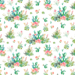 Small Cactus Floral in White