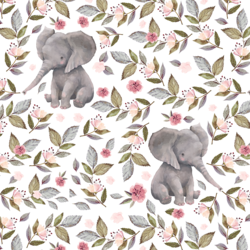 Floral Baby Elephant in White