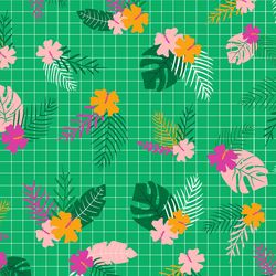 Tropical Flowers in Green Multi
