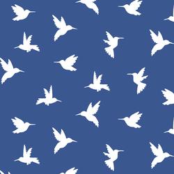 Hummingbird Silhouette in Blue Jay