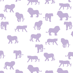 Lion Silhouette in Lilac on White