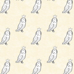 Small Crowned Owl in Sunny Yellow and Onyx