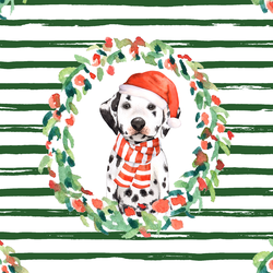Holiday Wreath in Evergreen Stripes