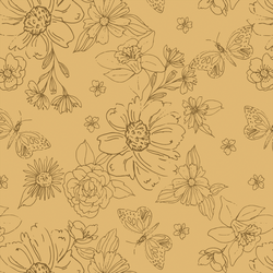 Big Sketched Florals in Daffodil