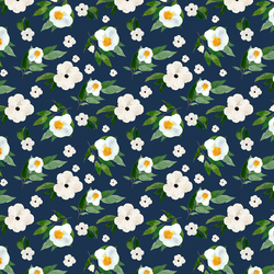 Small Spring Blooms in Navy