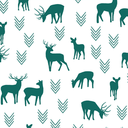 Deer Silhouette in Emerald on White