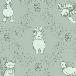 Large Bunny and Friends in Soft Pine on Muted Aqua