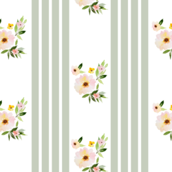 Floral Stripes in Succulent Green
