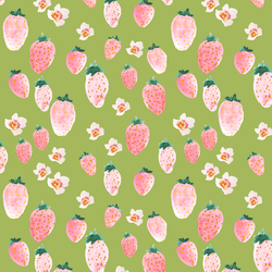 Strawberry Blossom in Lime Green
