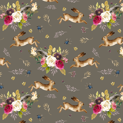 Large Autumn Bunnies in Dark Taupe