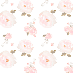 Small Tossed Floral in Rose