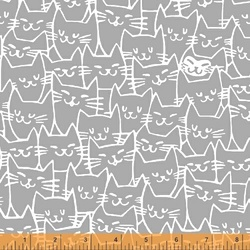Happy Cat Faces in Grey