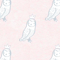Crowned Owl in Sweet Pink and Cashmere Blue