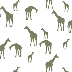 Giraffe Silhouette in Olive on White