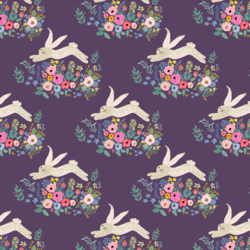 Little Bunny and Blooms in Aubergine