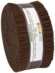 """Kona Solid 2.5"""" Strip Roll in Coffee"""