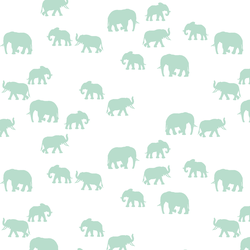 Elephant Silhouette in Mint on White