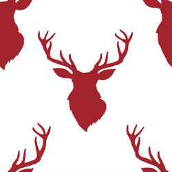 Deer Silhouette in Berry Red on White