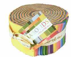 Bella Solids Jelly Roll in 30's Colors