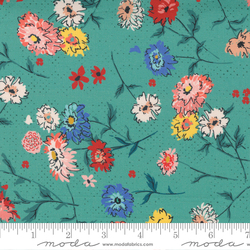 Full Bloom Floral Tossed Flowers in Turquoise