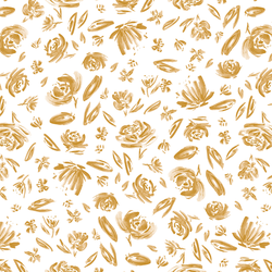 Spring Flowers in Gold on White