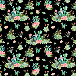 Small Cactus Floral in Black