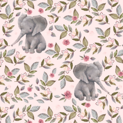 Floral Baby Elephant in Soft Blush