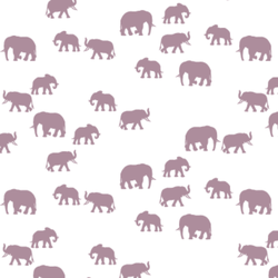 Elephant Silhouette in Celestial on White