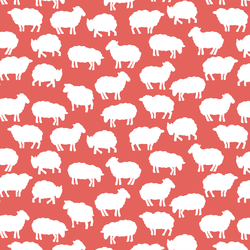 Sheep Silhouette in Salmon