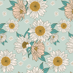 Boho Sunflowers in Aqua