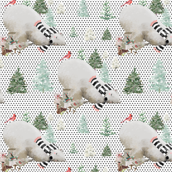 Small Napping Bear in Black Winter Dots on White