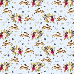 Small Autumn Bunnies in Soft Blue