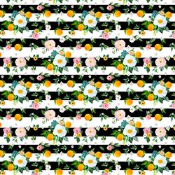 Small Orange Blossoms in Black Stripes