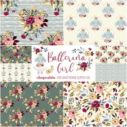 Ballerina Girl Fat Quarter Bundle in Ivory and Dusty Jade