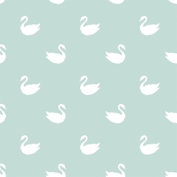 Swan Silhouette in White on Mint Green