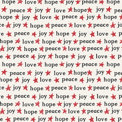 Peace Love Hope and Joy in Poinsettia on Bone