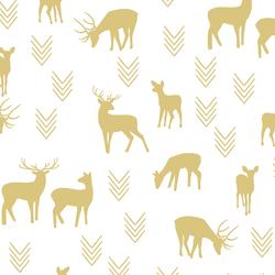 Deer Silhouette in Honey on White