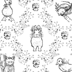 Large Bunny and Friends in Onyx on White