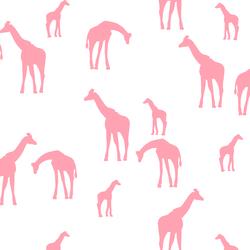 Giraffe Silhouette in Rose Pink on White