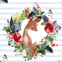 Boho Winter Deer in Frost Blue Stripe