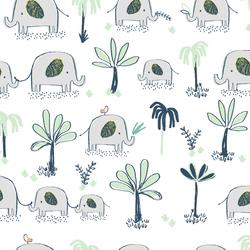 Elephant Trek in White