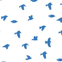Flock Silhouette in Cerulean on White