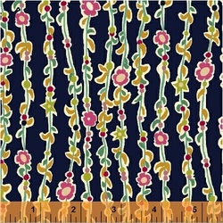 Vine Of Flowers in Navy